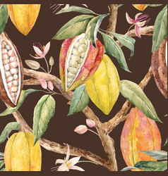 Watercolor cacao pattern vector