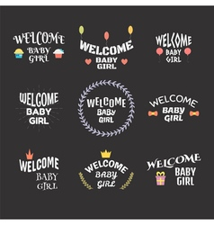 Welcome baby girl Baby shower card design Baby vector image