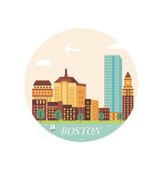 Welcome to boston poster view on city skyscrapers vector
