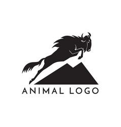Wildebeest jumping logo sign on vector