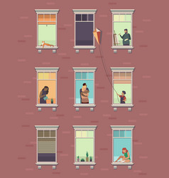 windows with people opened window neighbors vector image