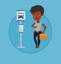Woman waiting at the bus stop vector