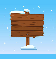 Wooden sign in snow christmas winter holidays vector