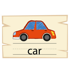 Wordcard template for word car vector