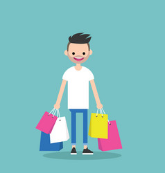 young trendy bearded man holding shopping bags vector image