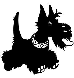 cartoon scottish terrier black white vector image