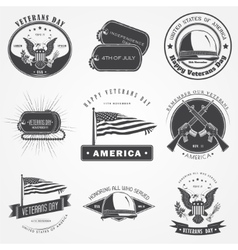 Happy veterans day set Independence day The vector image vector image