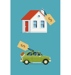 House and Car for Sale vector image vector image