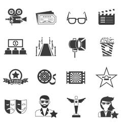Movie Icons Black Set vector image