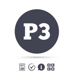 parking third floor icon car parking p3 symbol vector image vector image
