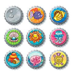 set of metallic bottle caps summer drawings vector image