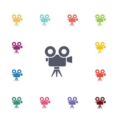 video camera flat icons set vector image