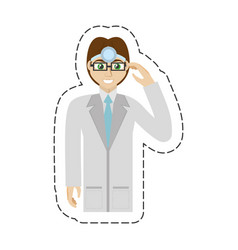 cartoon male doctor glasses smile vector image