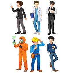 Men with different works vector image vector image
