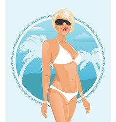pretty girl on a summer background - vector image vector image
