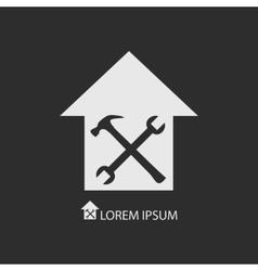 White house repair symbol on dark grey vector image