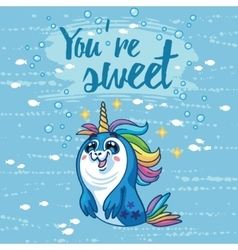 You are sweet Cute card with cartoon vector image vector image