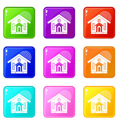 house icons 9 set vector image