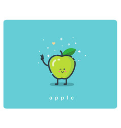 icon of green apple fruit funny cartoon character vector image