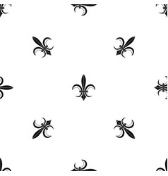 lily heraldic emblem pattern seamless black vector image