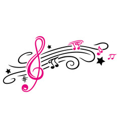 music notes and clef vector image vector image