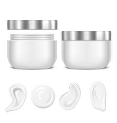 realistic white swirl or foam and jar cream set vector image