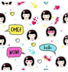 Anime style seamless pattern cute emoji girls vector