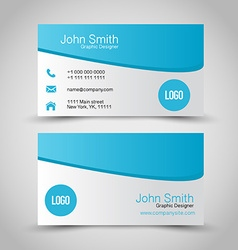 Business card set template blue and silver grey vector