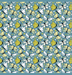 butterflies seamless pattern in old-fashionated vector image vector image