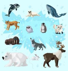cartoon arctic fauna set vector image