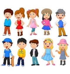 Cute children cartoon collection vector image vector image