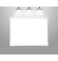 Empty gallery wall with lights vector image