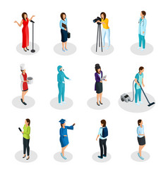 isometric professions set vector image vector image