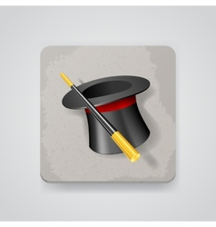 Magic hat and wand icon vector image