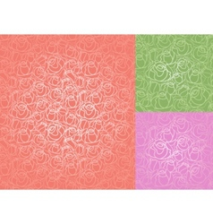 seamless roses pattern set wallpaper vector image vector image