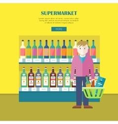 Supermarket Concept Web Banner in Flat Design vector image vector image