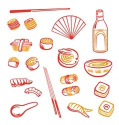 Sushi design elements vector image vector image
