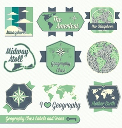 Vintage Geography Class Labels and Icons vector image vector image