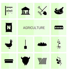 14 agriculture icons vector