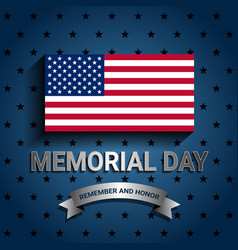 american flag with ribbon for memorial day vector image