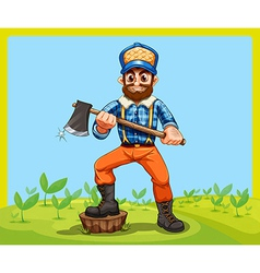 An old lumberjack holding an axe while stepping at vector