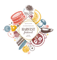 autumn harvest festival flyer template vintage vector image