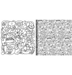 Baby hand drawn print and seamless pattern set vector