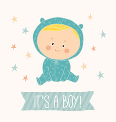 baby shower card for baby boy cute baby boy vector image