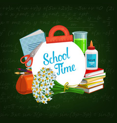back to school study supplies and chalkboard vector image