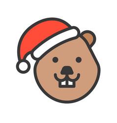Beaver wearing santa hat outline icon editable vector