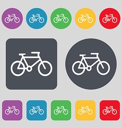 bike icon sign A set of 12 colored buttons Flat vector image