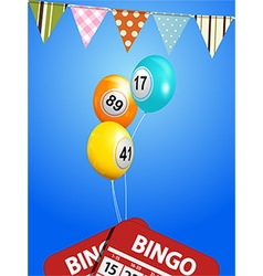 Bingo balloons with bunting and cards vector