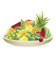 Bowl of fruit vector