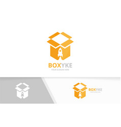 Box and rocket logo combination package vector